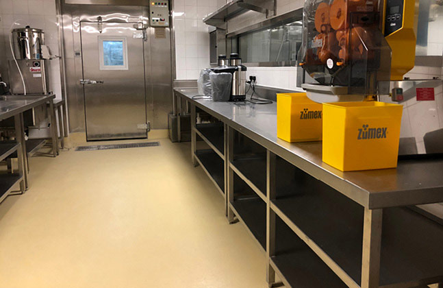 Besides the car park floor, Flowcrete Hong Kong also supplied screeds and coating systems for Rosewood Hotel's kitchen and food preparation areas.