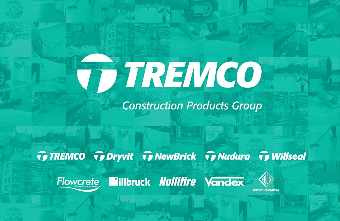 Collage of Tremco Construction Products Group and its affiliate brands - Tremco, Dryvit, Nudura, Euclid Chemical, NewBrick, Willseal, illbruck, Flowcrete, Nullifire and Vandex