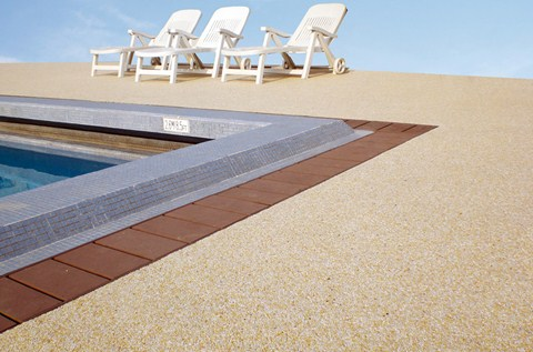Flowcrete's Stone Carpet Sets Off Swimming Pools